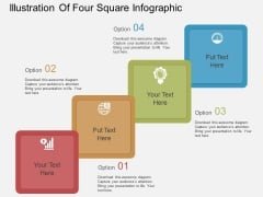 Illustration Of Four Square Infographic Powerpoint Templates
