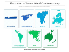 Illustration Of Seven World Continents Map Ppt PowerPoint Presentation Icon Background Images PDF