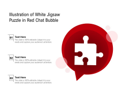 Illustration Of White Jigsaw Puzzle In Red Chat Bubble Ppt PowerPoint Presentation Model Background Designs PDF