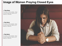 Image Of Woman Praying Closed Eyes Ppt PowerPoint Presentation Show Good