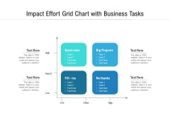 Impact Effort Grid Chart With Business Tasks Ppt PowerPoint Presentation Infographic Template Template PDF