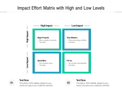 Impact Effort Matrix With High And Low Levels Ppt PowerPoint Presentation Infographic Template Slides PDF