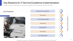 Impeccable Information Technology Facility Key Reasons For IT Service Excellence Implementation Professional PDF