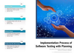 Implementation Process Of Software Testing With Planning Ppt PowerPoint Presentation Summary Structure PDF