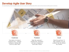 Implementing Agile Marketing In Your Organization Develop Agile User Story Ppt Slides Layout PDF