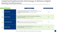Implementing Blockchain Technology To Enhance Digital Banking Transformation Summary PDF