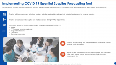 Implementing COVID 19 Essential Supplies Forecasting Tool Ppt Styles Background Images PDF