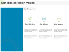 Implementing Human Resources HR Best Practices Strategy Our Mission Vision Values Ppt Pictures Format Ideas PDF