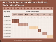 Implementing Safety Construction Gantt Chart For Construction Workforce Health And Safety Training Proposal Template PDF