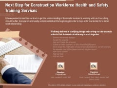 Implementing Safety Construction Next Step For Construction Workforce Health And Safety Training Services Background PDF