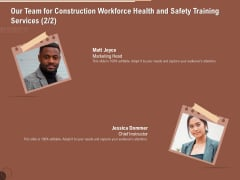 Implementing Safety Construction Our Team For Construction Workforce Health And Safety Training Services Brochure PDF