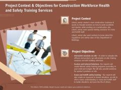Implementing Safety Construction Project Context And Objectives For Construction Workforce Health And Training Download PDF