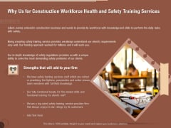 Implementing Safety Construction Why Us For Construction Workforce Health And Safety Training Services Themes PDF