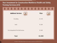 Implementing Safety Construction Your Investment For Construction Workforce Health And Safety Training Background PDF