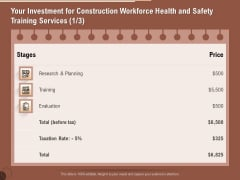 Implementing Safety Construction Your Investment For Construction Workforce Health And Training Themes PDF