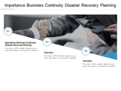Importance Business Continuity Disaster Recovery Planning Ppt PowerPoint Presentation Model Format Cpb