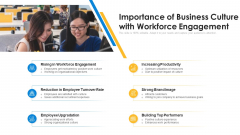 Importance Of Business Culture With Workforce Engagement Ppt PowerPoint Presentation File Topics PDF