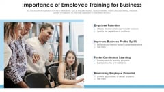 Importance Of Employee Training For Business Ppt PowerPoint Presentation File Model PDF