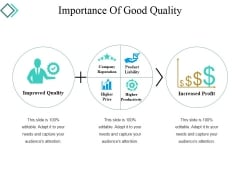Importance Of Good Quality Ppt PowerPoint Presentation Inspiration Graphics Tutorials