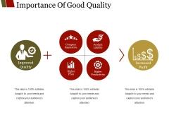 Importance Of Good Quality Ppt PowerPoint Presentation Portfolio Design Templates