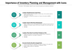 Importance Of Inventory Planning And Management With Icons Ppt PowerPoint Presentation Slides Objects PDF