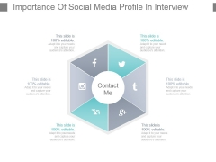 Importance Of Social Media Profile In Interview Powerpoint Slide Designs