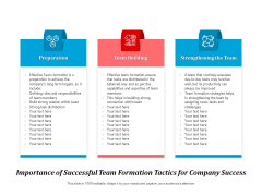 Importance Of Successful Team Formation Tactics For Company Success Ppt PowerPoint Presentation Inspiration Example File PDF