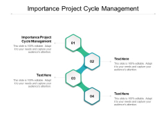 Importance Project Cycle Management Ppt PowerPoint Presentation Pictures Influencers Cpb