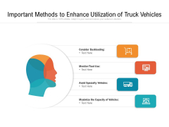 Important Methods To Enhance Utilization Of Truck Vehicles Ppt PowerPoint Presentation Infographic Template Graphics Example PDF