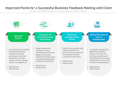 Important Points For A Successful Business Feedback Meeting With Client Ppt PowerPoint Presentation Icon Example PDF