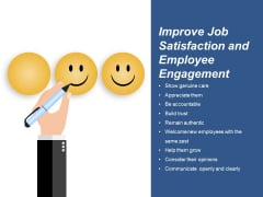 Improve Job Satisfaction And Employee Engagement Ppt PowerPoint Presentation Gallery Graphics