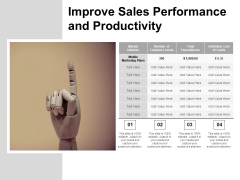 Improve Sales Performance And Productivity Ppt PowerPoint Presentation Diagram Graph Charts