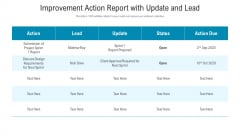 Improvement Action Report With Update And Lead Ppt PowerPoint Presentation Background Images PDF