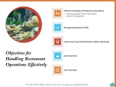 Improving Restaurant Operations Objectives For Handling Restaurant Operations Effectively Ppt Visual Aids Pictures PDF
