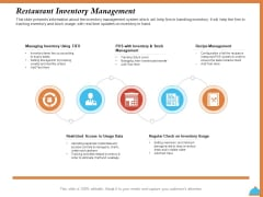 Improving Restaurant Operations Restaurant Inventory Management Ppt PowerPoint Presentation Infographic Template Background Image PDF