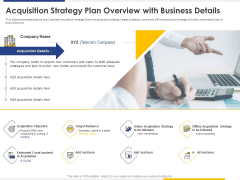Improving Retention Rate By Implementing Acquisition Strategy Plan Overview With Business Details Introduction PDF