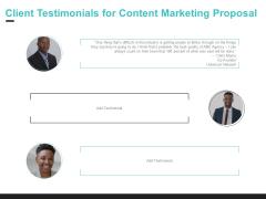 Inbound Marketing Client Testimonials For Content Marketing Proposal Ppt Portfolio Slide PDF