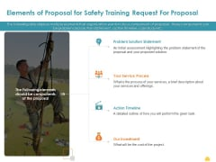 Incident Management Process Safety Elements Of Proposal For Safety Training Request Brochure PDF