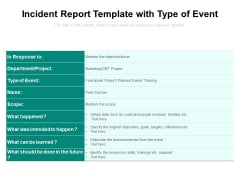 Incident Report Template With Type Of Event Ppt PowerPoint Presentation Summary Influencers PDF