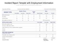 Incident Report Templet With Employment Information Ppt PowerPoint Presentation Layouts Elements PDF