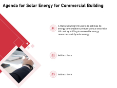 Incorporating Solar PV Commercial Building Agenda For Solar Energy For Commercial Building Template PDF