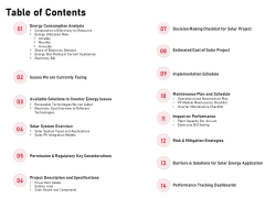 Incorporating Solar PV Commercial Building Table Of Contents Ppt Portfolio Templates PDF