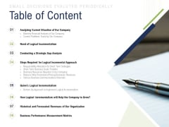 Incremental Decision Making Table Of Content Ppt Ideas Samples PDF