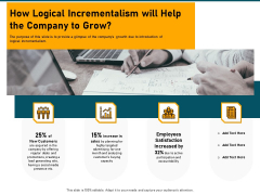 Incrementalism Strategy How Logical Incrementalism Will Help The Company To Grow Ppt Infographics Portrait PDF