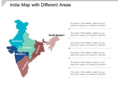 India Map With Different Areas Ppt Powerpoint Presentation Summary Smartart