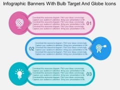 Infographic Banners With Bulb Target And Globe Icons Powerpoint Templates