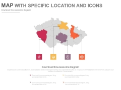 Infographic Map Diagram With Four Points Powerpoint Slides