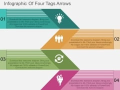 Infographic Of Four Tags Arrows Powerpoint Template