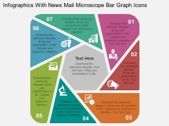 Infographics With News Mail Microscope Bar Graph Icons Powerpoint Templates