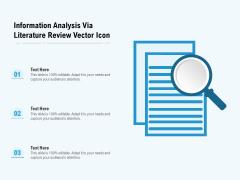 Information Analysis Via Literature Review Vector Icon Ppt PowerPoint Presentation Icon Ideas PDF